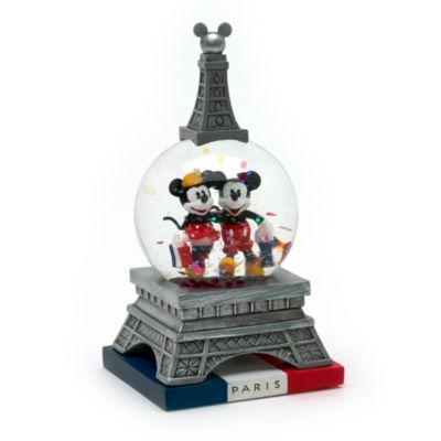 Micky und Minnie Maus - Paris Schneekugel (12 cm)