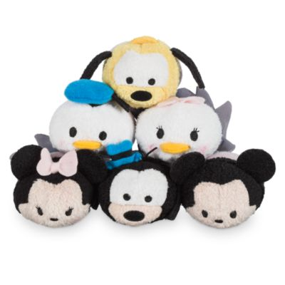 Små Tsum Tsum plysdyr, Disney Stores 30-årsjubilæum, sæt med 6 stk.