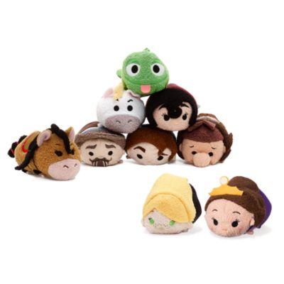 Uppsättning med små Tsum Tsum-gosedockor från tv-serien Trassel