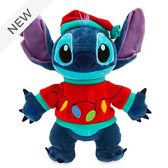 Disney Store Stitch Light-Up Holiday Cheer Medium Soft Toy