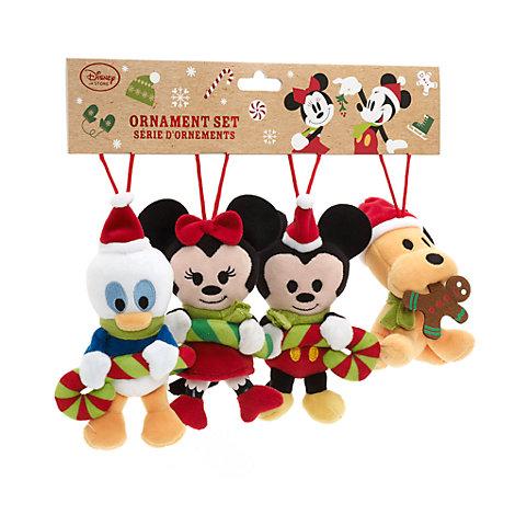 Mickey Mouse og vennerne julepynt i plys, s't med 4 stk.