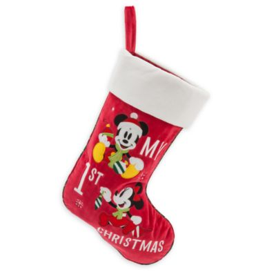 Chaussette de Noël « My 1st Christmas » Mickey et Minnie Mouse