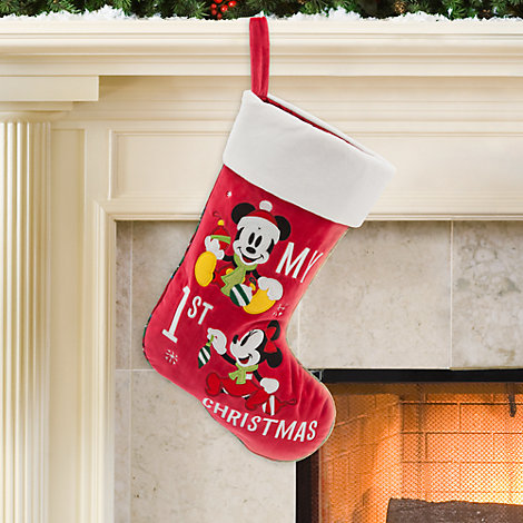 Chaussette de Noël « My 1st Christmas » Mickey et Minnie Mouse