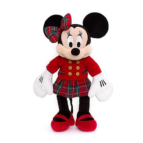Mellemstort Minnie Mouse plysdyr med juletema