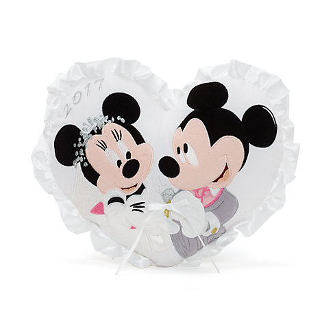 Mickey And Minnie Mouse Wedding Heart Cushion