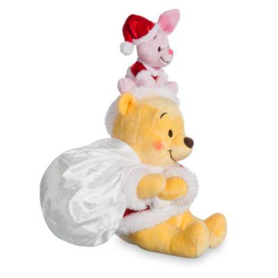 Petites peluches Winnie l'Ourson et Porcinet en habits de Noël