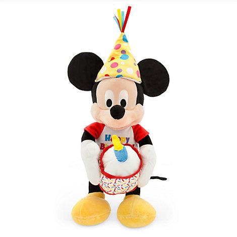 Peluche musical mediano de Mickey Mouse que emite la canción de cumpleaños feliz
