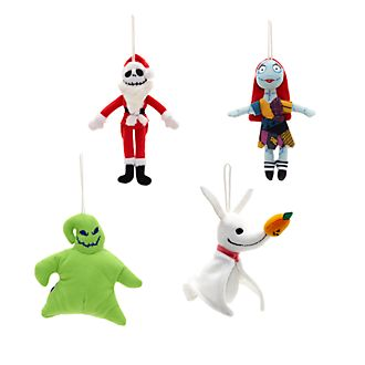 Disney Store Nightmare Before Christmas, 4 decorazioni di peluche da appendere