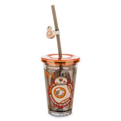 Bicchiere Star Wars a doppia parete con cannuccia, BB-8