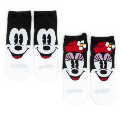 Lot de 2 paires de chaussettes Mickey et Minnie pour femmes