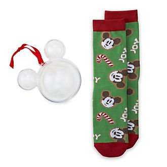 Disney Store Mickey Mouse Festive Socks Hanging Ornament For Adults, 1 Pair