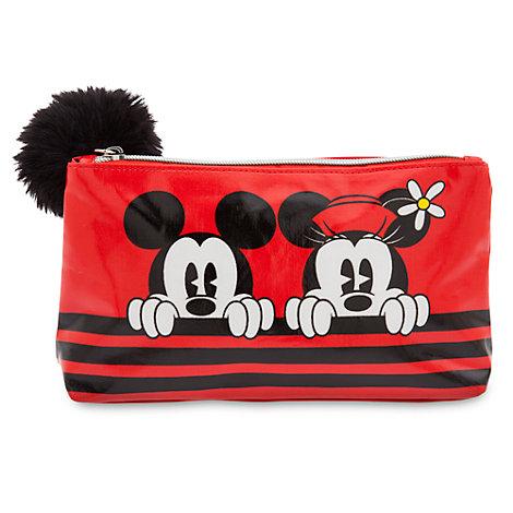 Mickey og Minnie Mouse kosmetikpung med pompon