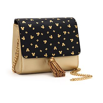 Disney Store Mickey Mouse Black and Gold Crossbody Bag