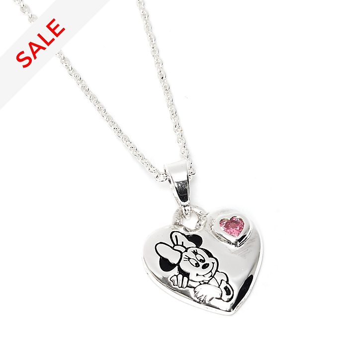 Disney Store Minnie Mouse Heart Silver-Plated Necklace
