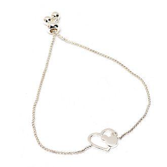 Pulsera deslizante bañada en plata con corazón Mickey Mouse, Disney Store