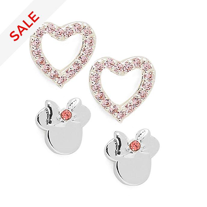 Disney Store - Minnie Maus - Versilberte Ohrringe in Herzform - 2er-Set