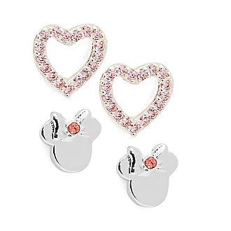 Disney Store Lot de 2paires de boucles d'oreilles coeur plaquées argent Minnie