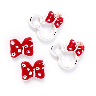Disney Store Lot de 2paires de boucles d'oreilles noeud plaquées argent Minnie