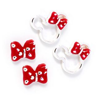 Disney Store Minnie Mouse Silver-Plated Bow Earrings, Set of 2