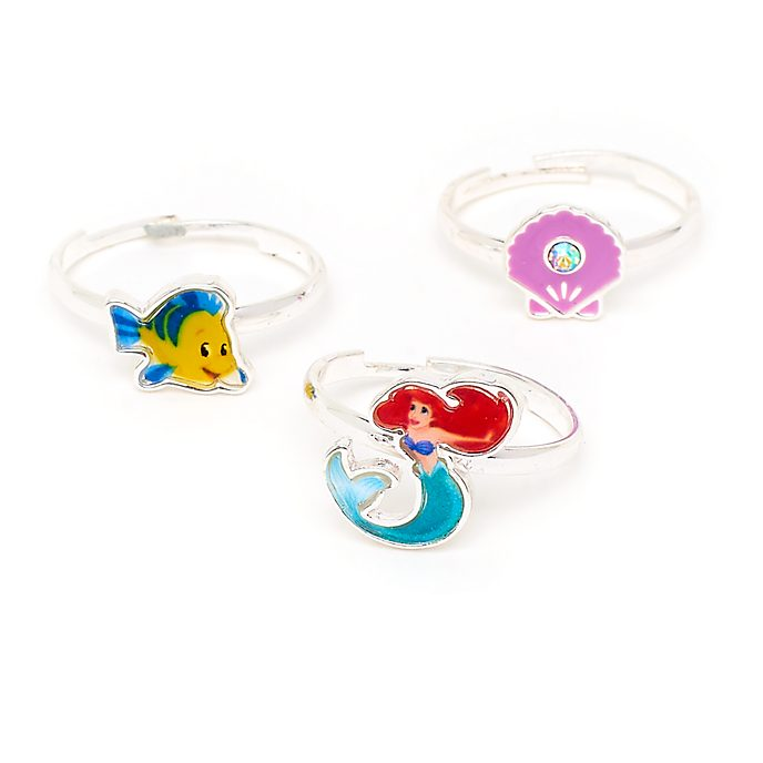 Disney Store The Little Mermaid Rings, Set of 3