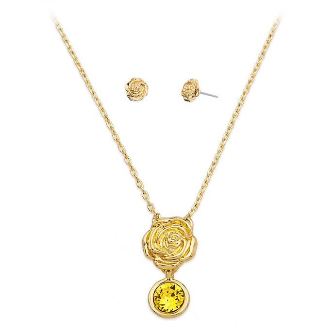 Disney Store Belle Necklace and Earrings Set