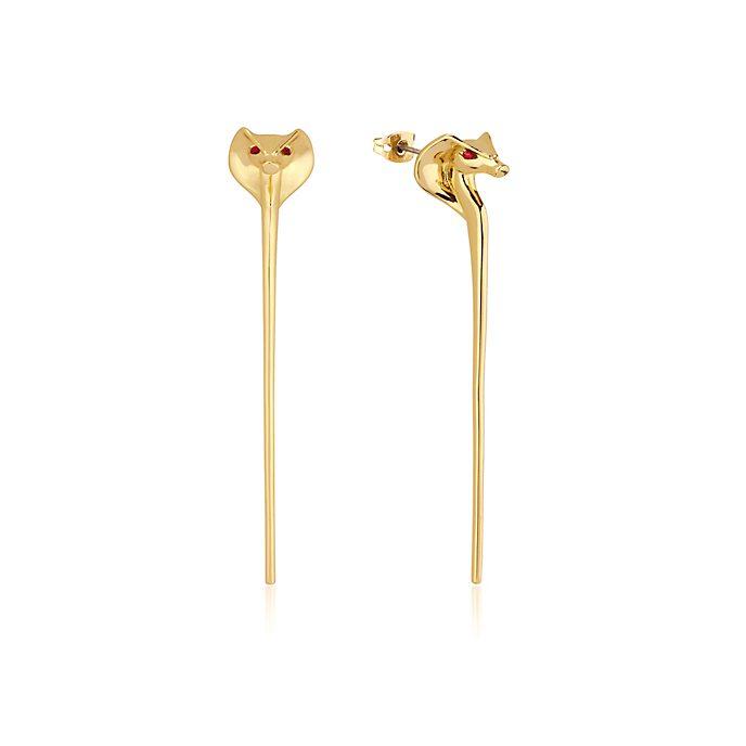 Pendientes bañados en oro bastón de serpiente de Yafar Aladdín, Couture Kingdom