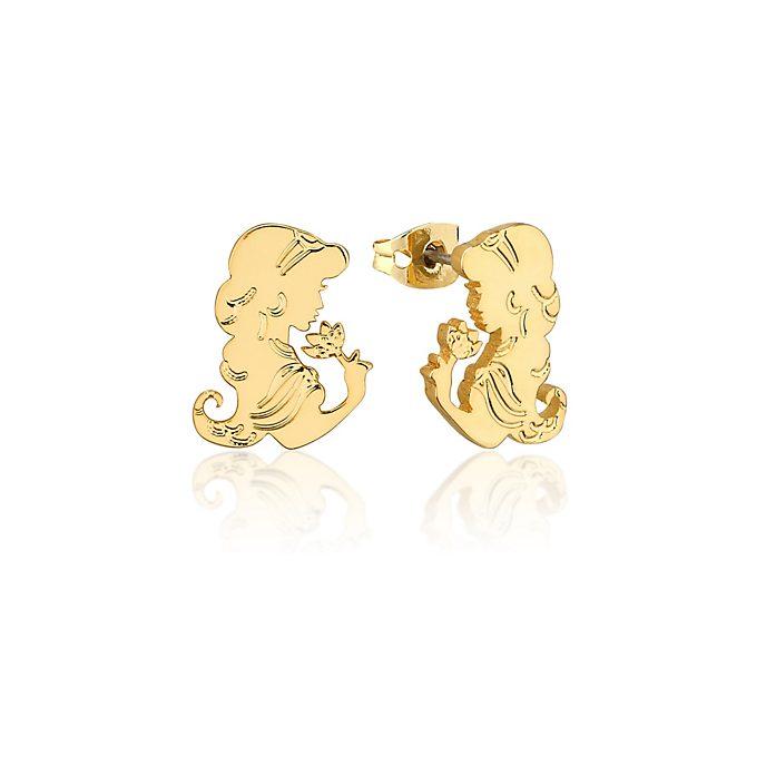 Pendientes bañados en oro Jasmine con flor, Aladdín, Couture Kingdom