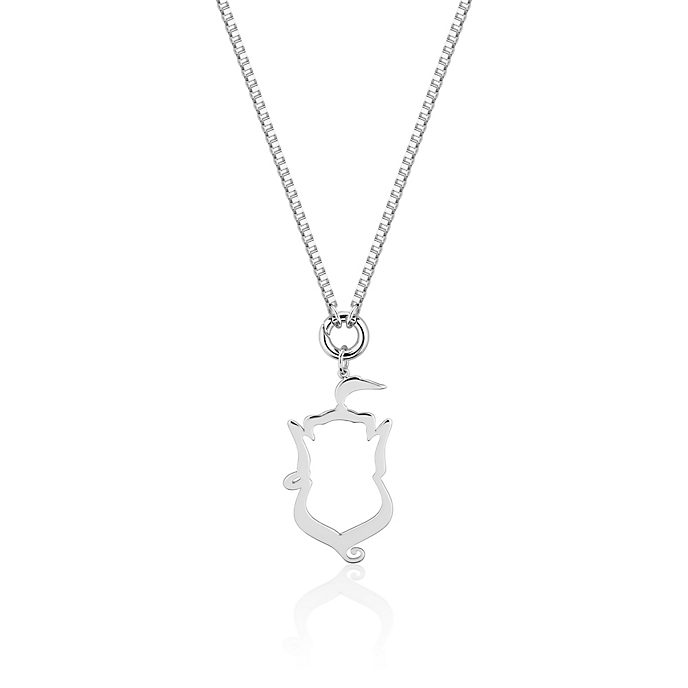 Couture Kingdom Genie Silhouette White Gold-Plated Necklace, Aladdin