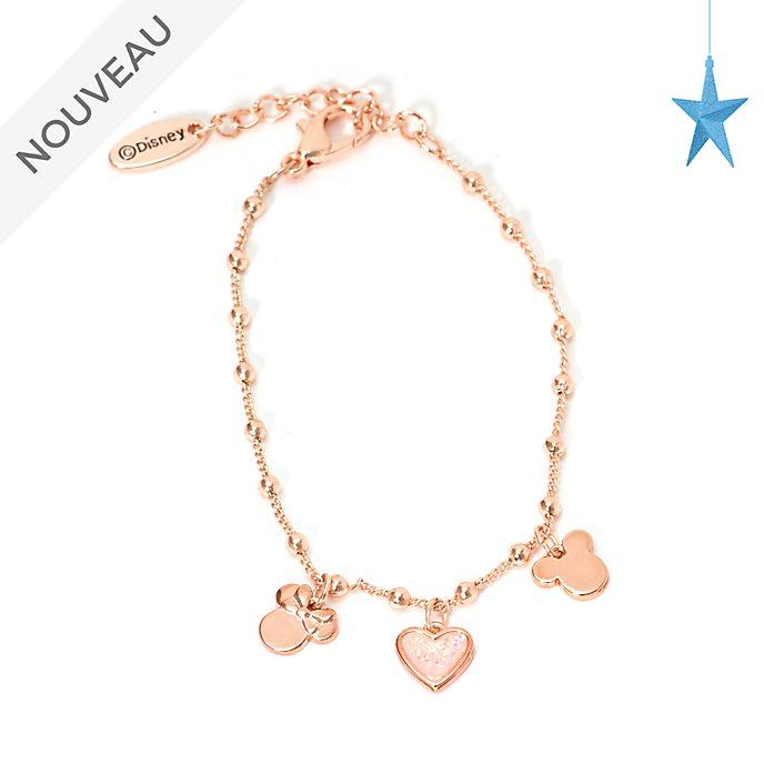 Disney Store Bracelet à breloques Mickey et Minnie plaqué en or rose