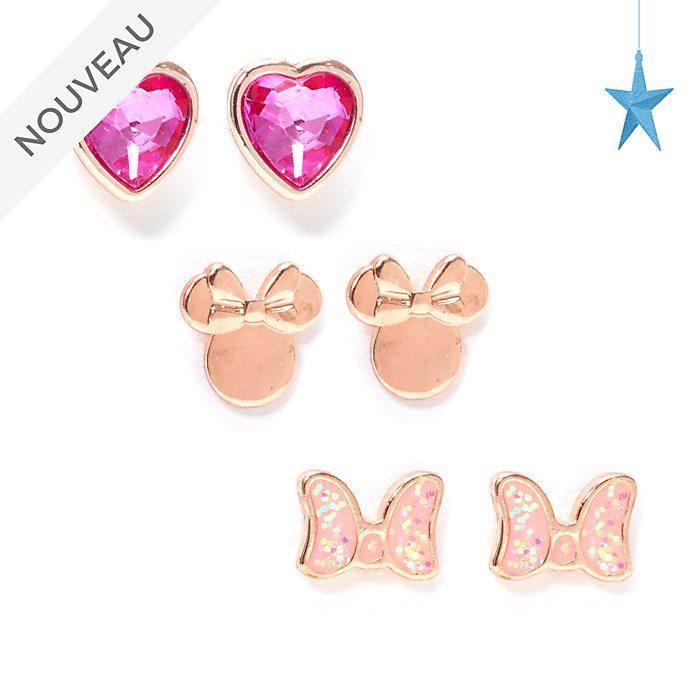 Disney Store Lot de 3paires de clous d'oreilles Minnie plaquées en or rose