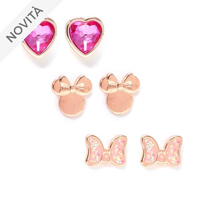 Minni Disney Store, 3 paia di orecchini a bottone placcati in oro rosa
