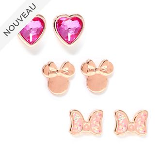 Disney Store Lot de 3 paires de clous d'oreilles Minnie plaquées en or rose