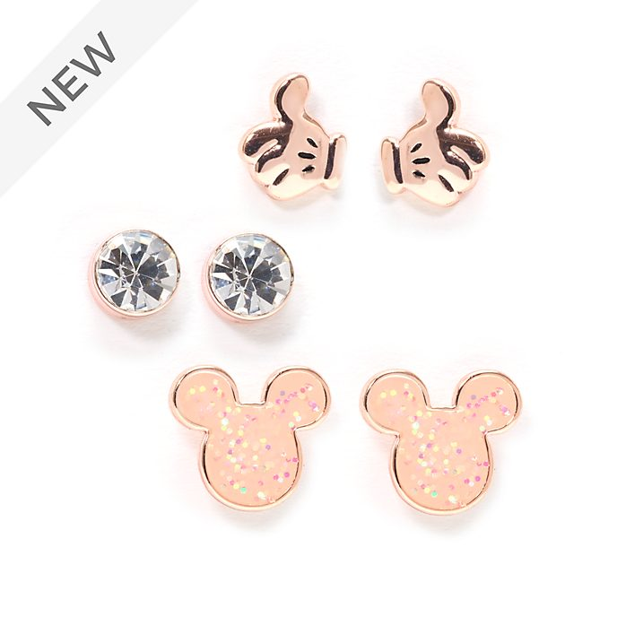 Disney Store Mickey Mouse Rose Gold-Plated Stud Earrings, Set of 3