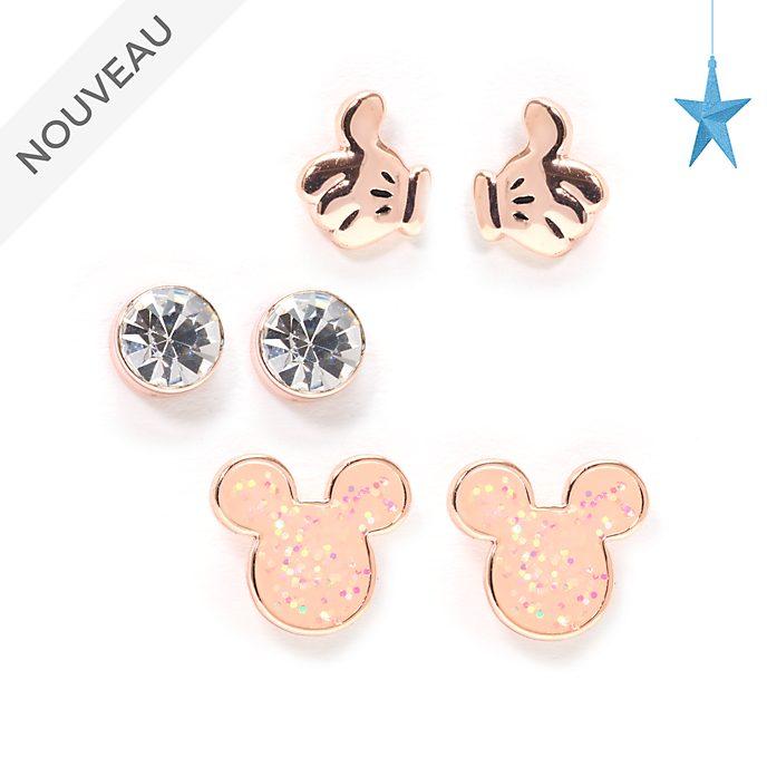 Disney Store Lot de 3paires de clous d'oreilles Mickey plaquées en or rose