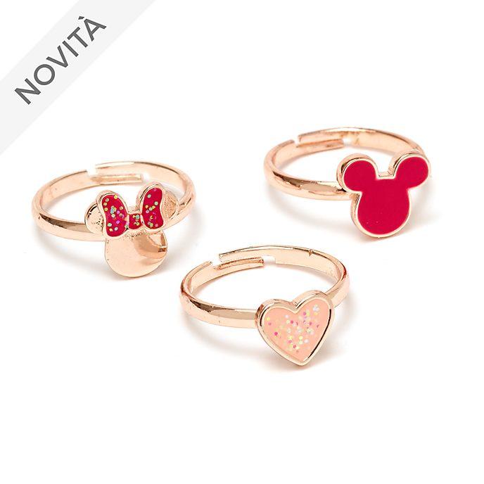 Topolino e Minni Disney Store, 3 anelli placcati in oro rosa