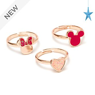 Disney Store Mickey and Minnie Rose Gold-Plated Rings, Set of 3