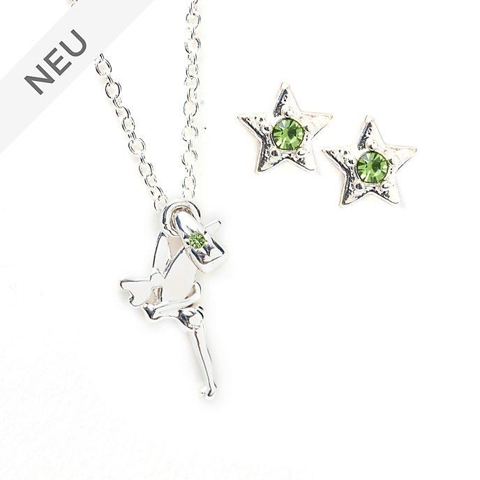 Disney Store - Tinkerbell - Versilbertes Set aus Halskette und Ohrringen