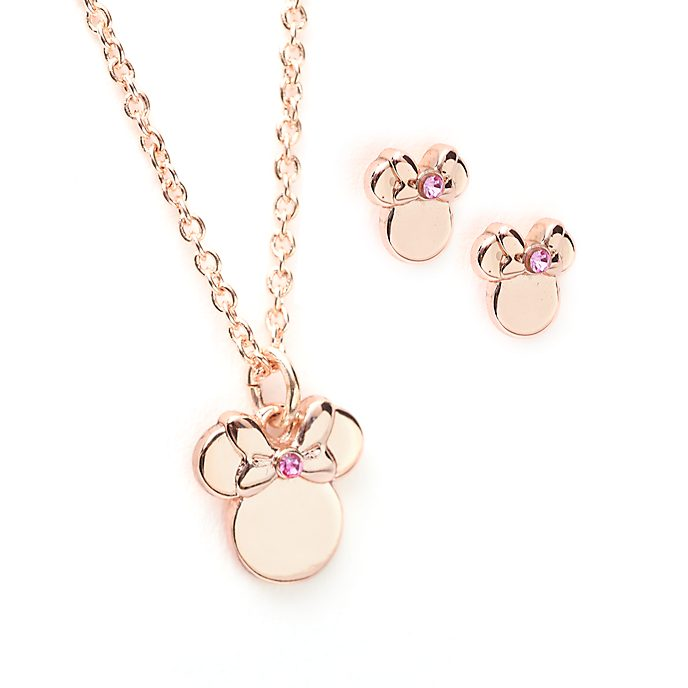 Disney Store Minnie Mouse Rose Gold-Plated Necklace and Earrings Set