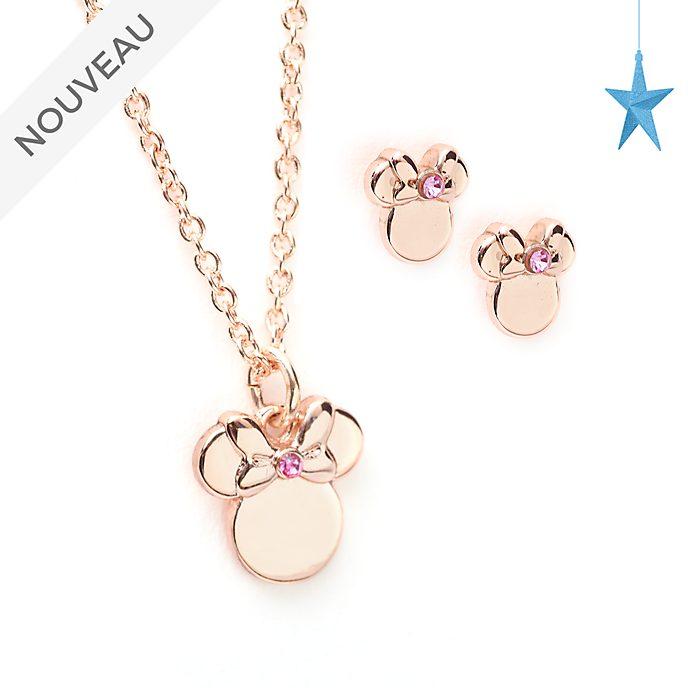 Disney Store Parure collier et boucles d'oreilles Minnie plaquée en or rose