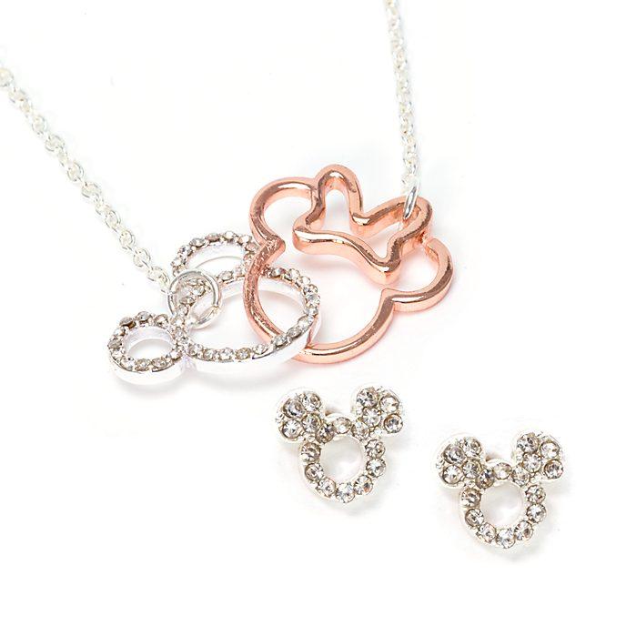 Disney Store Parure de bijoux Mickey et Minnie plaquée argent et or rose