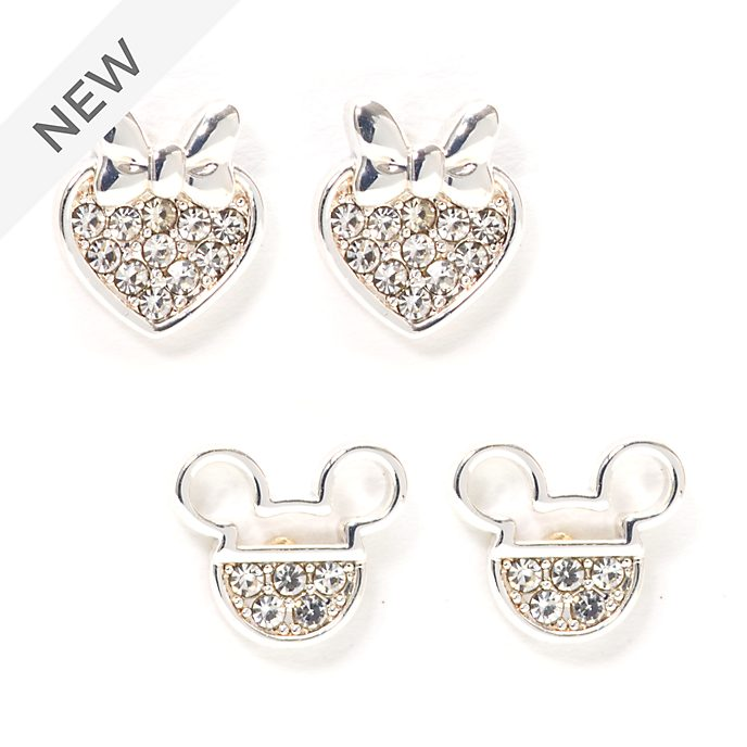 Disney Store Mickey and Minnie Silver-Plated Stud Earrings, Set of 2