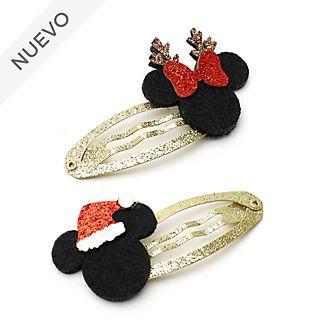 Horquillas de pelo Mickey y Minnie, Holiday Cheer, Disney Store (paquete de 2)