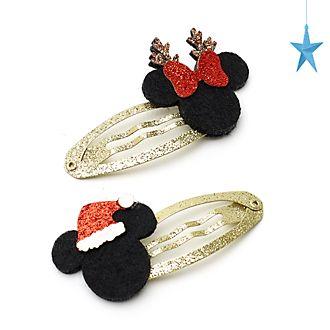 Disney Store Lot de 2barrettes Mickey et Minnie, Holiday Cheer