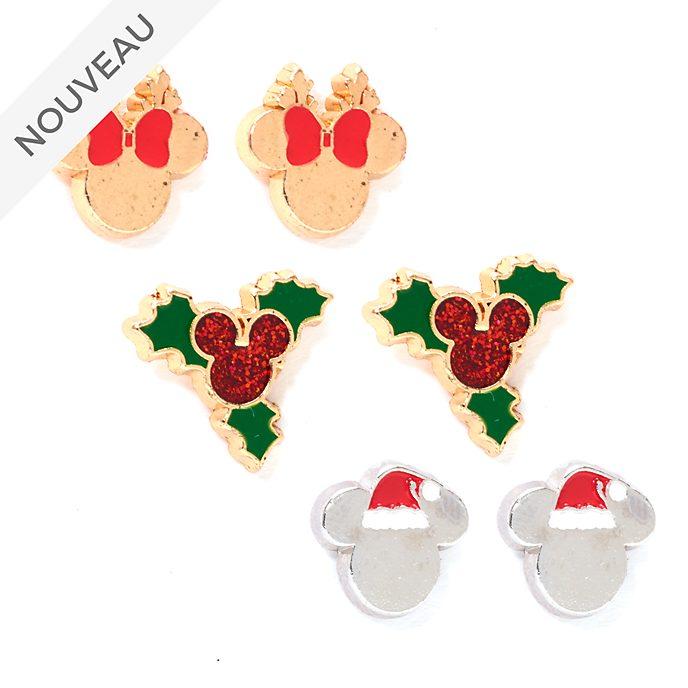 Disney Store Lot de 3paires de clous d'oreilles Mickey et Minnie, Holiday Cheer