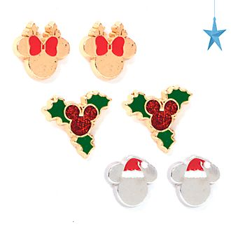 Disney Store Mickey and Minnie Holiday Cheer Stud Earrings, Set of 3