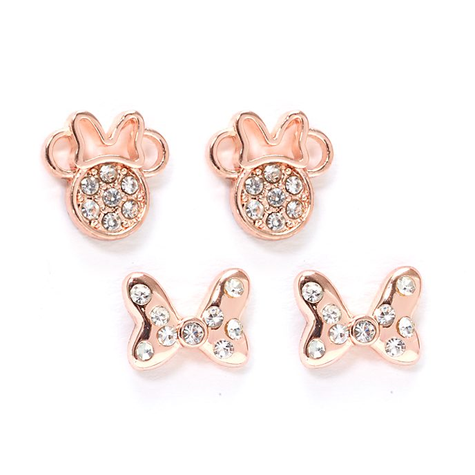 Disney Store Lot de 2paires de clous d'oreilles Minnie plaquées en or rose