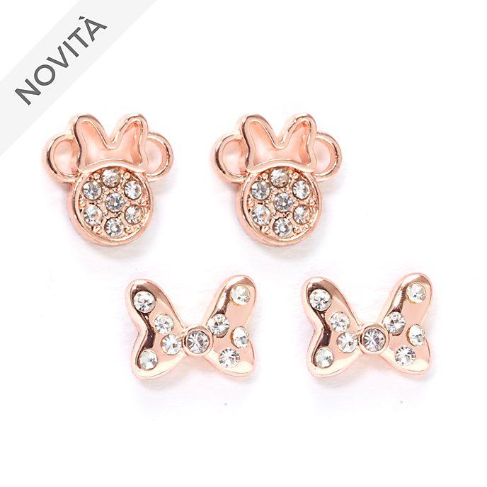 Minni Disney Store, 2 paia di orecchini a bottone placcati in oro rosa