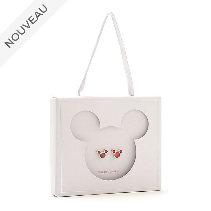 Disney Store Clous d'oreilles Mickey avec pierre de janvier