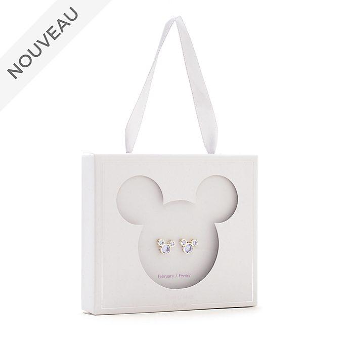Disney Store Clous d'oreilles Mickey avec pierre de février