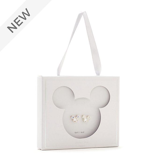 Disney Store Mickey Mouse April Birthstone Stud Earrings